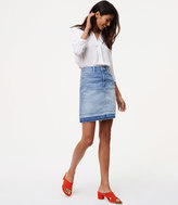 LOFT Petite Unpicked Denim Shift Skirt