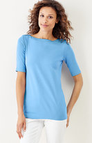 J. Jill Perfect Pima Elbow-Sleeve Boat-Neck Tee