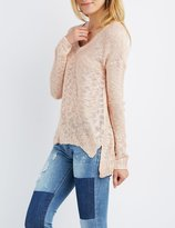 Charlotte Russe Slub Knit V-Neck Sweater