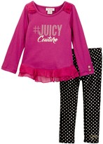 Juicy Couture tJUICYCouture Ruffle Tunic & Foil Dot Legging Set (Toddler Girls)