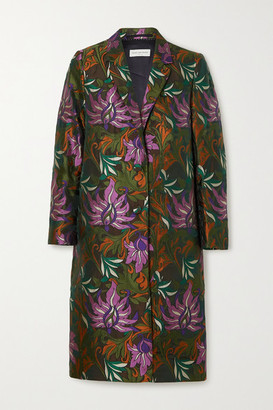 Dries Van Noten Floral-jacquard Coat - Army green