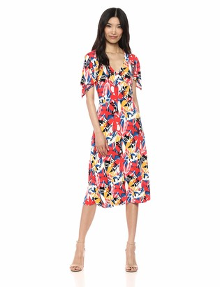 Chaus Women's Flutter SLV Ruchd Floral Faux Wrap Dress