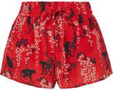 RED Valentino Printed Silk-crepe Shorts