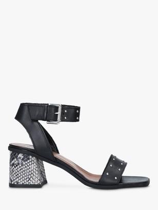 Carvela Koriander Studded Block Heel Sandals, Black/Snake Print