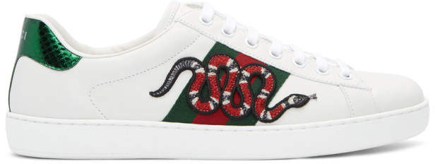 Gucci White Snake Ace Sneakers