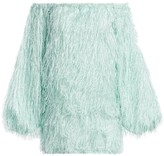 Rotate by Birger Christensen Gloria Off-the-Shoulder Feather Shift Dress