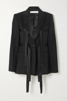 J.W.Anderson Satin-trimmed Wool-twill Blazer - Black