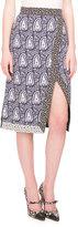 Altuzarra Paisley-Print Skirt w/Floral Edges, Navy