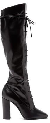 Saint Laurent Laura Lace-up Knee-high Leather Boots - Black