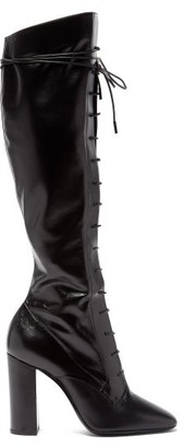 Saint Laurent Laura Lace-up Knee-high Leather Boots - Womens - Black