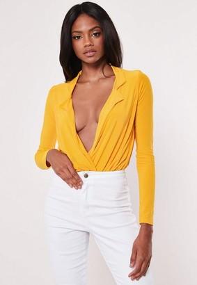 Missguided Mustard Slinky Wrap Shirt Bodysuit