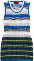 Missoni Metallic Striped Crochet-knit Tank - Blue