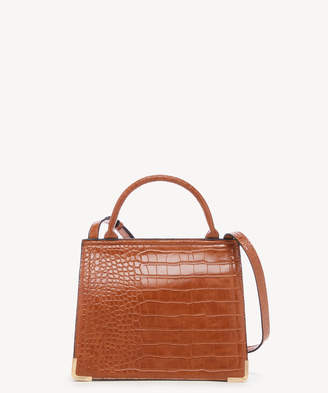 Sole Society Women's Cwen Crossbody Bag 2 Faux Leather Cognac Croc From