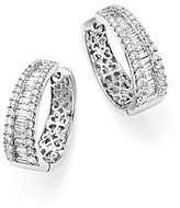 Bloomingdale's Diamond Round and Baguette Hoop Earrings in 14K White Gold, 3.0 ct. t.w. - 100% Exclusive