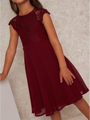 Chi Chi London Girls Lollita Dress - Burgundy
