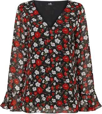 Wallis Red Floral Print Flute Sleeve Top
