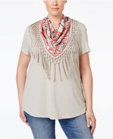 Style&Co. Style & Co. Plus Size T-Shirt with Fringe Scarf, Only at Macy's
