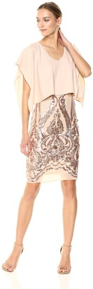 Betsy & Adam Women's Short Overlay Sequin Dress