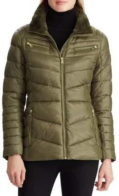 Lauren Ralph Lauren Faux Fur-Trim Puffer Coat