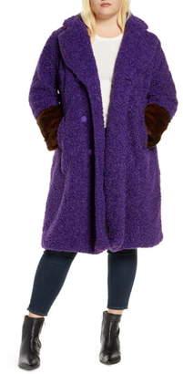 ELOQUII Faux Fur Cuff Boucle Coat