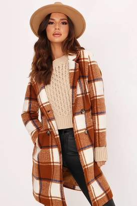 I SAW IT FIRST Brown Check Wool Coat