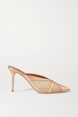 Malone Souliers Bobbi 85 Metallic Mesh And Leather Mules - Gold