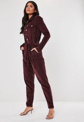 Missguided Dark Red Micro Cord Boiler Suit