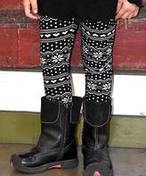 Beary Basics Black & White Snowflake Leggings - Toddler & Girls