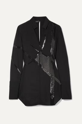 Akris Sequin-embellished Mulberry Silk-blend Georgette Blouse - Black