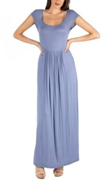 24seven Comfort Apparel Maxi Dress with Round Neck and Empire Waist