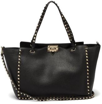 Valentino Rockstud Medium Leather Tote Bag - Womens - Black