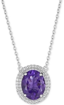 """Macy's Amethyst (5-1/2 ct. t.w.) & White Topaz (1 ct. t.w.) 17"""" Pendant Necklace in Sterling Silver"""