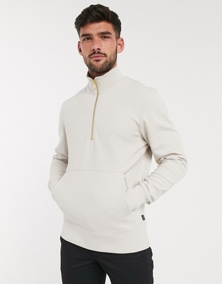 Jack and Jones sweat with quarter zip in stone