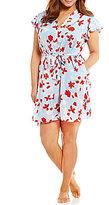 Oscar de la Renta Plus Cherry Bloom Satin Wrap Robe