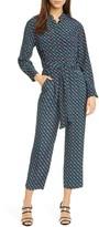 Diane von Furstenberg Alexi Belted Long Sleeve Straight Leg Crop Silk Jumpsuit