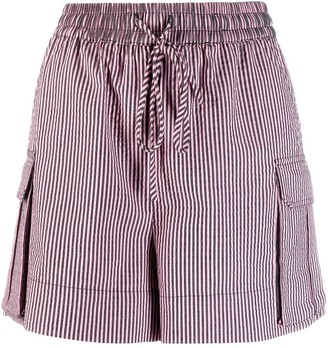 Ganni Striped Seesucker Shorts