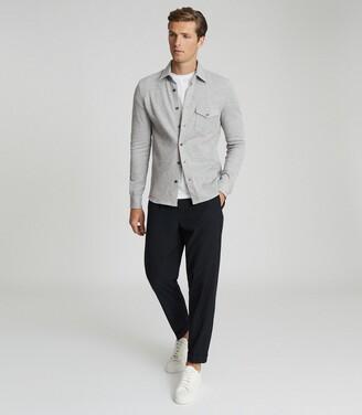 Reiss Scott - Jersey Overshirt in Grey Melange