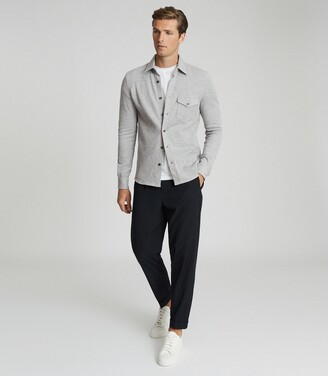 Reiss Scott - Textured Jersey Overshirt in Grey Melange