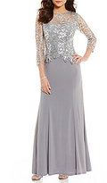 Cachet Sequin Embroidered Lace Bodice Gown