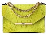 Gavi Shoulder Bag In Citron Yellow Croc-Effect