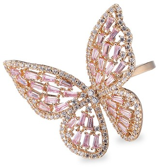 Eye Candy La Luxe Goldtone Crystal Butterfly Ring