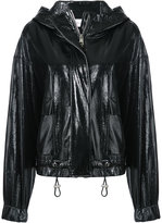 Wanda Nylon patent hooded jacket
