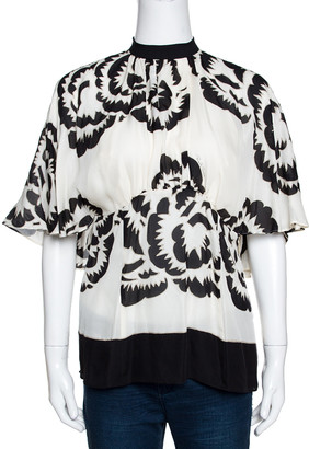 Roberto Cavalli Monochrome Printed Silk Open Back Blouse L