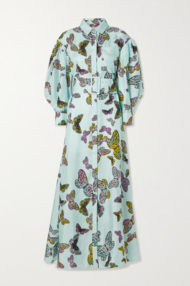 RALPH & RUSSO Belted Printed Silk-satin Twill Maxi Shirt Dress - Mint