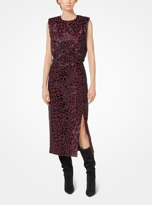 Michael Kors Leopard-Embroidered Stretch Pebble-Crepe Sheath Dress