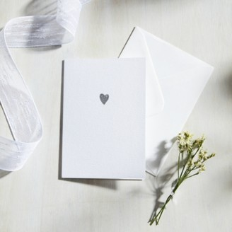 The White Company Sparkle Heart Card, White, One Size