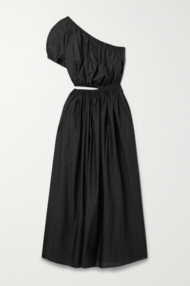 Matteau Net Sustain One-shoulder Cutout Cotton-poplin Maxi Dress - Black
