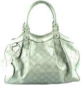 Gucci Sukey Silver Leather Handbags