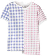 Loewe Asymmetric Gingham Printed Cotton-jersey T-shirt - Baby pink