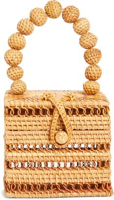 Cult Gaia Eos Top Handle Rattan Box Clutch
